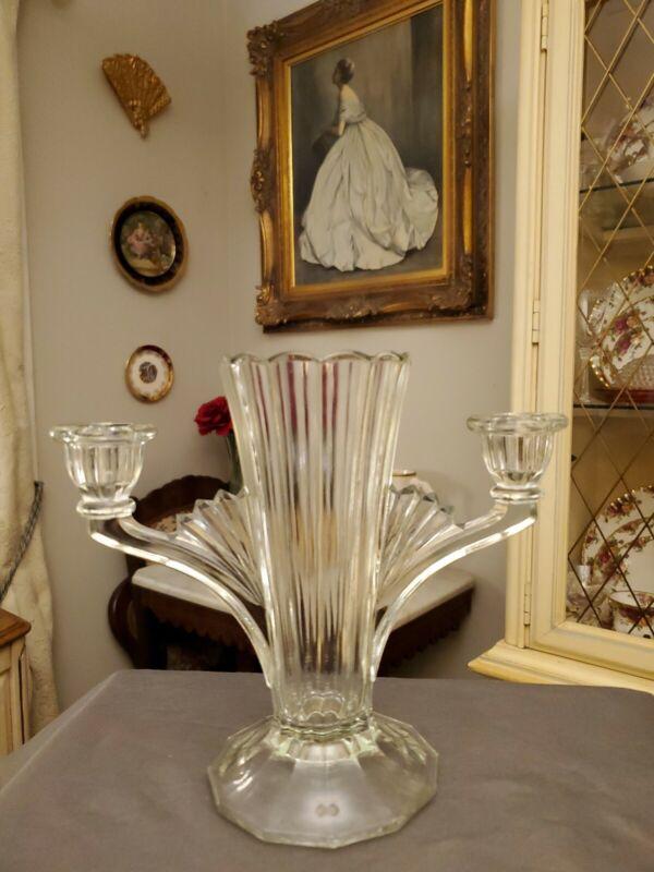Vintage Antique Art Deco Pressed Glass Vase & Double Candle Stick Holder.  RARE!