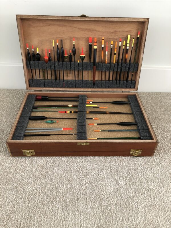 Vintage Wooden Float & Tackle Box With 40 Vintage Floats