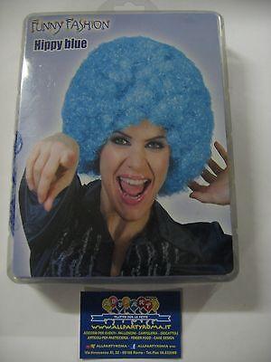 Parrucca RICCIA BLUE hippy clown pagliaccio CAPELLI feste carnevale eventi