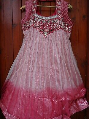 INDIAN PARTY WEDDING STITCHED DRESS PAJAMI FROK SUIT BEADS WORK PINK
