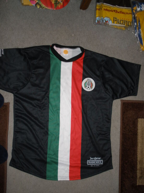 JOSE CUERVO TEQUILA LIQUOR LARGE SOCCER BLACK WITH STRIPES SHORT-SLEEVE SHIRT