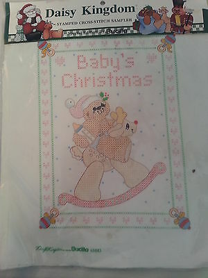Daisy Kingdom BABYS CHRISTMAS Stamped Cross Stitch Sampler 63443 / Bucilla 1992