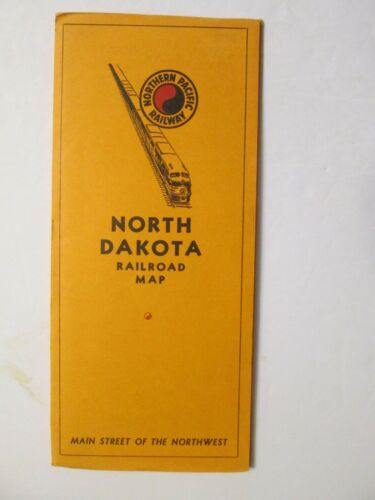 Northern Pacific Railroad Map of North Dakota 1950s