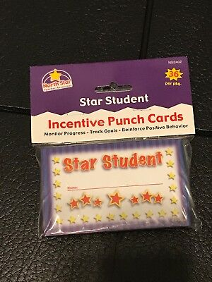 Star Student Incentive Punch Cards Pack/36 Track Progress Behavior Track Goals  (Behavior Punch Cards)