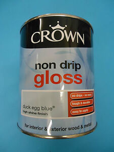 Crown Non Drip Gloss Paint - 750ml - For Wood And Metal  - Duck Egg Blue