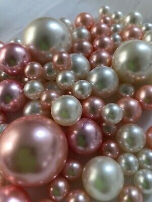 Rose Gold Ivory Vase Filler Pearls 80pc Floating Pearl Decor, Table Scatter