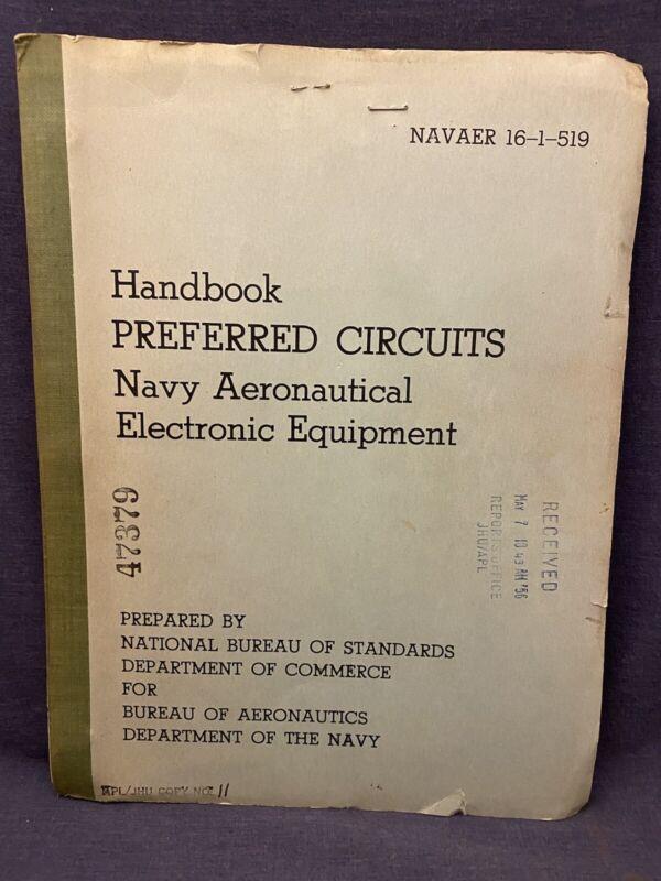 1955 Handbook Preferred Circuits Navy Aeronautical Electronic NAVAER 16-1-519