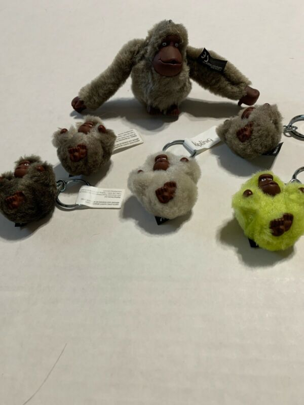 Kipling Lot Of 6 New Gorilla Keychains 1 Large 5 Small NWT