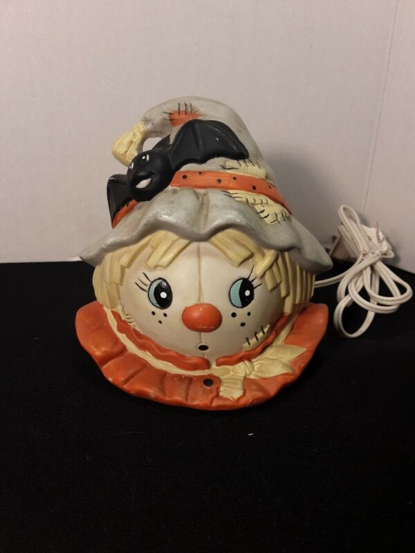 Vintage Ceramic Scarecrow Lamp with Bat Electric