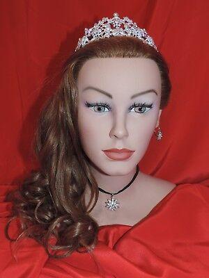Diadem Hochzeitsdiadem Krone Haarreif silberfarbig Prinzessin Glitzer