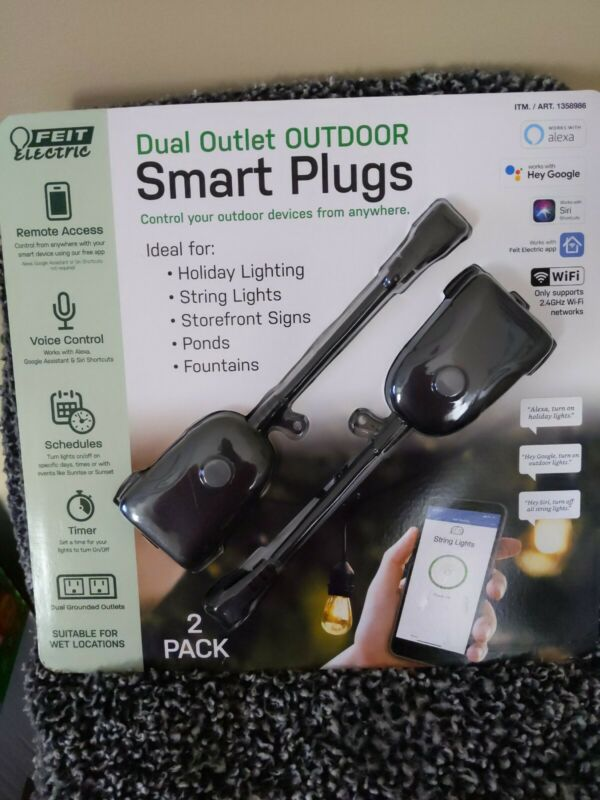 Feit Electric Wi-Fi Smart Dual Outlet Outdoor Plug 2 pack