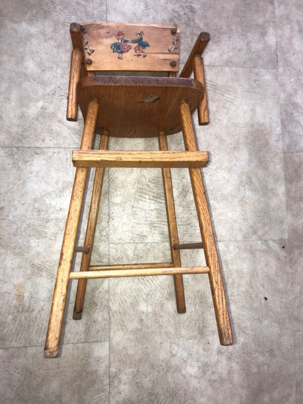"""Antique Wood High Chair Athol Mass 28"""" High By 10"""" Wide"""
