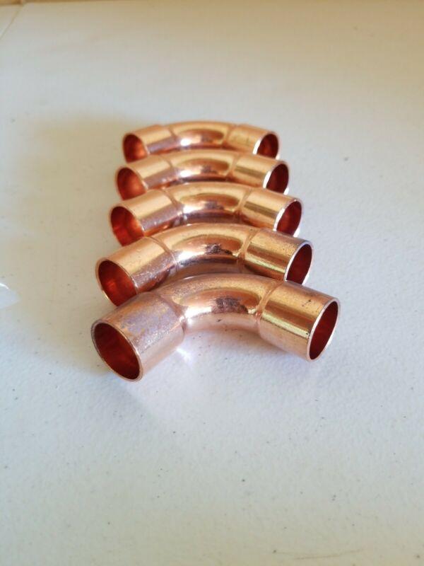 "(5) JW 3/4"" Sweat Wrot  Copper Long Turn 90°Elbows CxC Nom Size 5/8"""