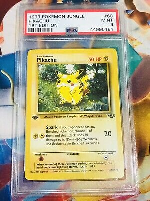 PIKACHU 1999 POKEMON JUNGLE SET 1st EDITION NON HOLO CARD 60/64  PSA MINT 9