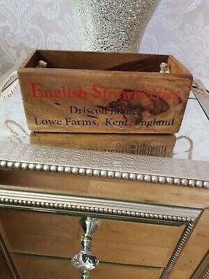 Vintage antiqued wooden box, crate, trug, SMALL BOX, ENGLISH STRAWBERRIES