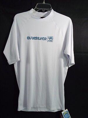 c187f56189d949 Quiksilver Short Sleeve Rashguard White Swim Shirt 50+ UPF Sun Protection  XXL