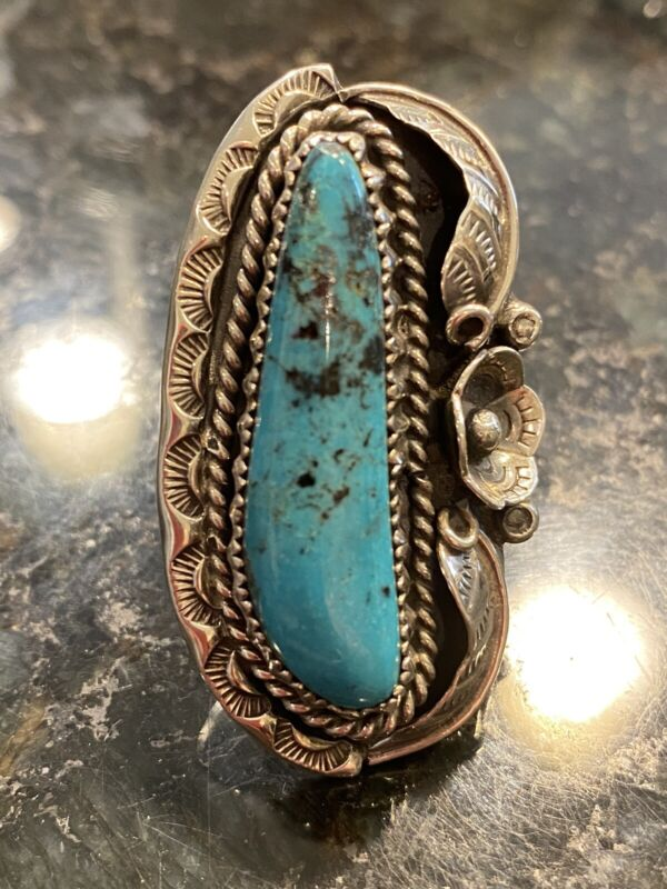 Southwest Native VTG Silver Turquoise Squash Blossom Feather Ring 16.8g Sz 7.25