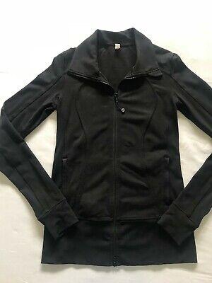 Lululemon Women's Black Jacket, Brushed, sz 6, Yoga, Thumb Holes, FREE Shipping!