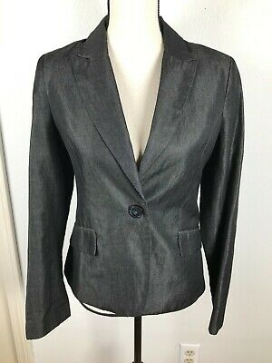 H&M WOMENS BLACK JEAN LIKE BUTTON SLIT BACK LONG SLEEVE SHORT BLAZER 6 17/4