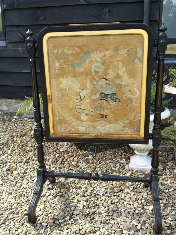 A Fabulous Aesthetic Movement Ebonised Fire Screen Silk Chinousorie
