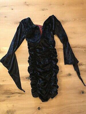 Girls Black velvet dress-up halloween costume with ruffled skirt size s-m