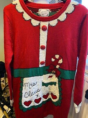 Mrs Claus Costume Cute Women's Christmas Jumper Size M