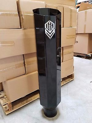 """OFFROAD ARSENAL 5"""" IN 8"""" OUT 36"""" OCTAGON DIESEL EXHAUST STACK GLOSS BLACK MITER"""