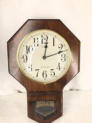 Antique Vintage Regulator Wall Clock Westminster Verichron Chime Wood Case NICE