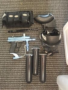 E-Markers Paintball gun, hopper and accessories