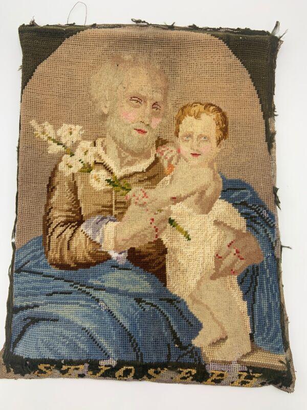 Antique Fine Needlepoint Sampler Saint Joseph Infant Jesus Early 1800s