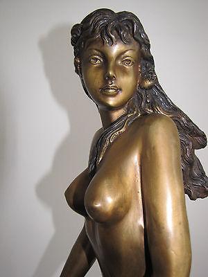 Sehr schöne 60cm große Jugendstil Bronze Erotik Figur Frau Erotika Brüste alt