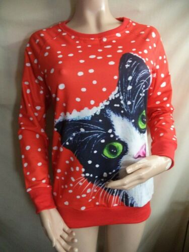 Cat Face in Snow Womans L/S Shirt Red w/ Black & White Print Poly/Cotton S-M NIP