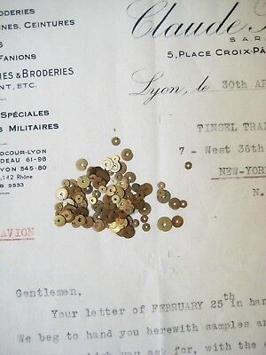 Mix Vintage Antique French Metal Gold Sequins Couture Embroidery Costume 3 & 5mm