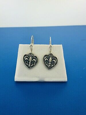 Designer Jose Balli 925 Sterling Silver Heart Fleur De Lis New Orleans Earrings ()