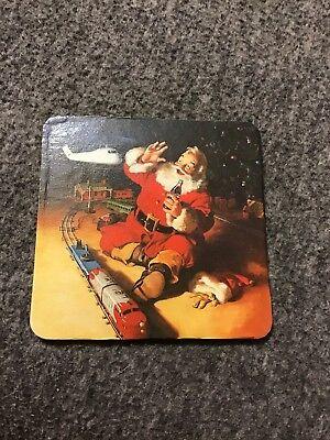 VTG Christmas Coaster Santa Claus Coca Cola - Playing With Train set
