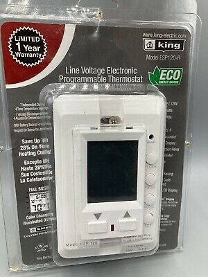 King Esp120-r Max22 7-day Programmable Electronic Line Voltage Thermostat 3-w...