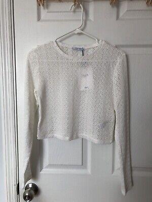 NWT Zara TRF Trafaluc Crop White Lace Top M Medium