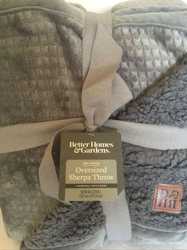 Better Homes & Gardens Oversized Sherpa Throw Velvet Blanket Gray Waffle 50 X 70