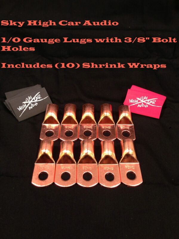 "(10) 1/0 Gauge Copper Ring Terminals 3/8"" RED/BLACK Heat Shrink Tubing LUGS"