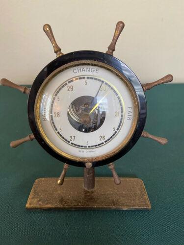 "WORKS 5"" Ship Wheel Desk Barometer West Germany Brass Gilt Vtg Pressure Nautical"