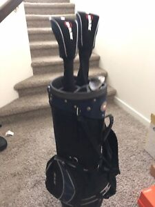 Golf bag and left hand clubs