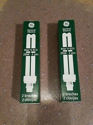 Lot of 2 GE Biax D ECO 26W 2 Pin Compact Fluorescent Lamp Bulb