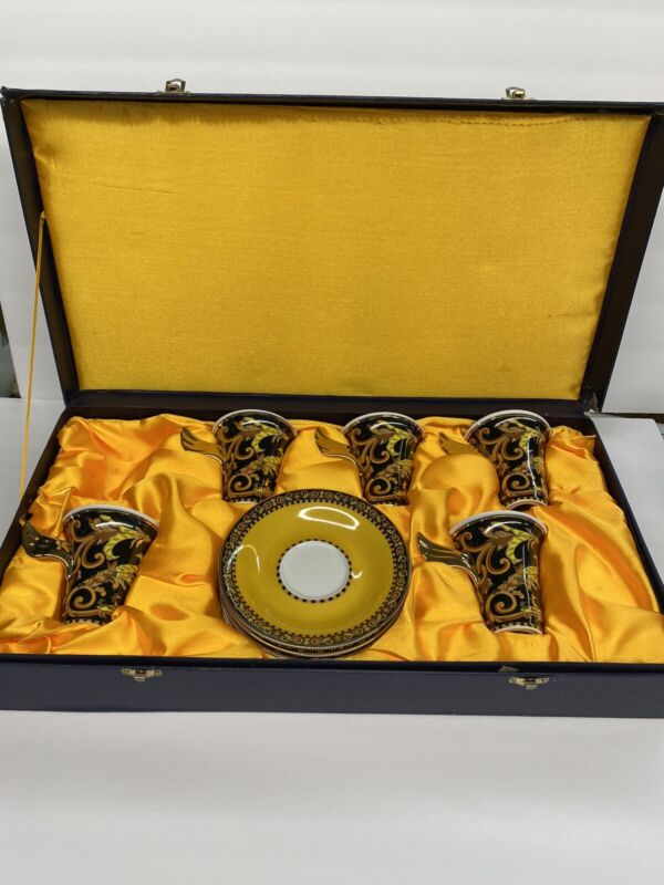 Versace Rosenthal Barocco Set Of 5 Winged Tall Cup Demitasse / Espresso & Saucer