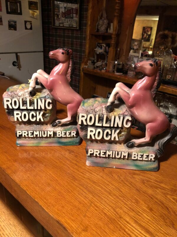 "A Set Of ""2"" Vintage Rolling Rock Premium Beer Rearing Horse Bookends"