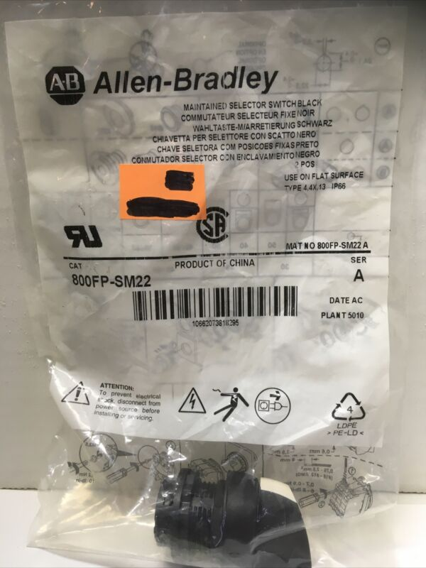 Allen-Bradley 800FP-SM22 Maintained Selector Switch Black