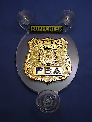 NYC NEW YORK  PBA POLICE SUPPORTER  CAR SHIELD - NYPD - FOP - PBA