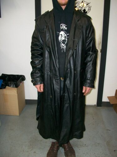 Harley Davidson Limited Edition Long Black Leather Trench Coat Duster Size 40