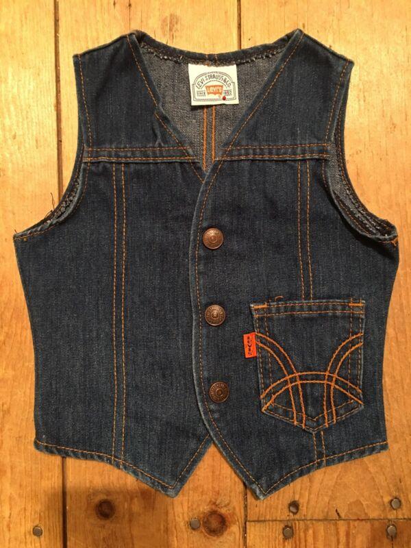 Vtg 60s-70s Toddler Levi's Vest Copper Snaps Orange Tab Denim Gold Stich Pocket