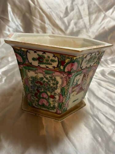 Rose Medallion Hand Painted Chinese Jardiniere Planter FREE SHIPPING famille