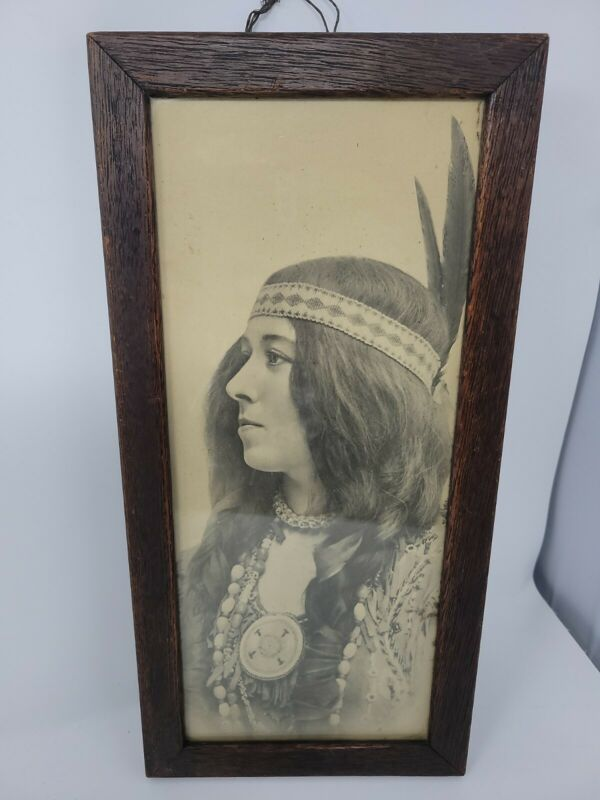 Vintage Antique Native American Indian Woman Framed (Photo? Art?) RARE!